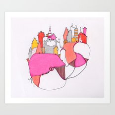 Pink city lights Art Print