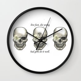 3 Skull Live Fast Die Young Wall Clock