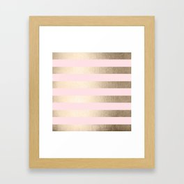 Simply Striped in White Gold Sands and Flamingo Pink Framed Art Print