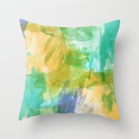 the strokes Throw Pillows featuring strokes by Carrie Baum