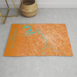 Knoxville, TN, USA, Gold, Blue, City, Map Rug