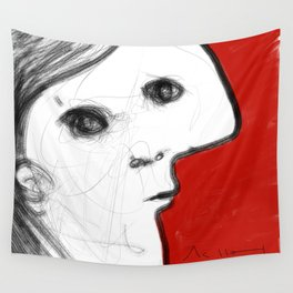 REVERIE : 002 ~ iPad Sketchbook Drawing, Abstract Face Wall Tapestry