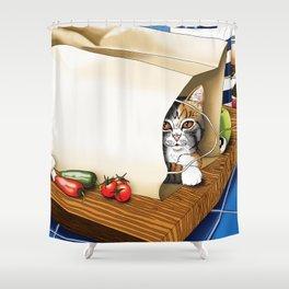 Kitchen Cat Shower Curtain