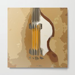 Guitar Bass brown back Metal Print