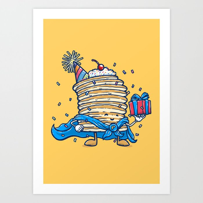 Captain Birthday Pancake Art Print