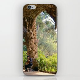 Musician in Park Guell, Barcelona iPhone Skin