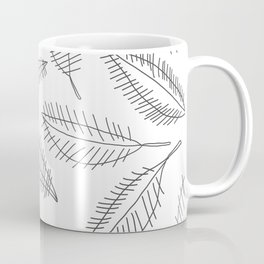 Feather Leaves in Black White Coffee Mug