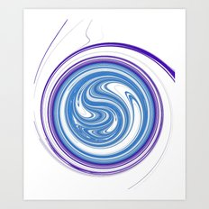 Plug Hole 3d digital fractal swirling pattern Art Print
