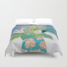 Lily and Eucalyptus Bouquet in Blue and Peach Floral Vase Duvet Cover