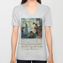 Vintage poster - Immigration Unisex V-Neck