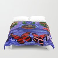nirvana Duvet Covers featuring Reaching Nirvana Gautama Buddha by Joseph Mosley