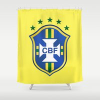 world cup Shower Curtains featuring Brazil World Cup by WaXaVeJu