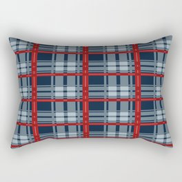 Red Line White And Red Lumberjack Flannel Pattern Rectangular Pillow