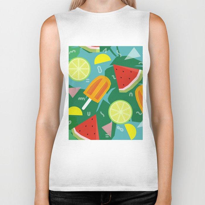 Watermelon, Lemon and Ice Lolly Biker Tank