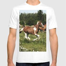 Spring Horse Run Mens Fitted Tee MEDIUM White