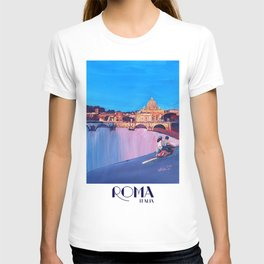 Rome Scene with Motorcycle and view of Vatican with Dome of St Peter T-shirt