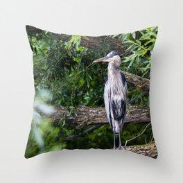 Heron waiting Throw Pillow