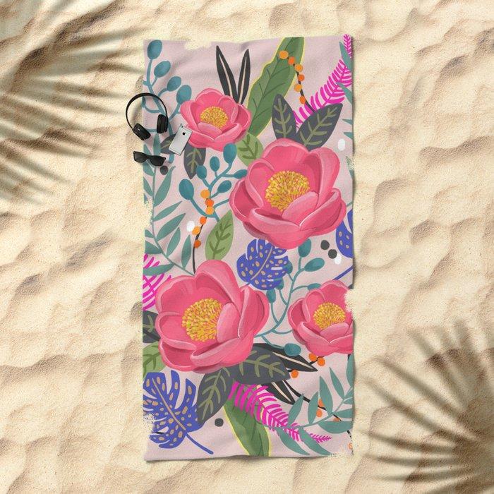 Romantic Blossom, flower print, floral print Beach Towel