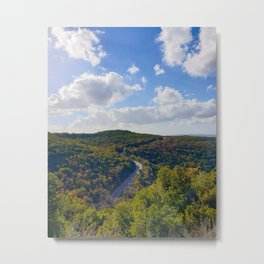 Aerial View of Mountain Road Through Green Trees in Israel Metal Print