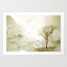 Loch Lovely Abstract Art in Sage Green Art Print