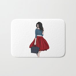 Romantic look, girl in red skirt Bath Mat