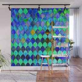 Blue Green Stained Glass Wall Mural