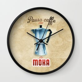 Cafe Poster: Coffee Break with Moka Wall Clock