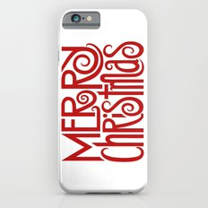 Merry Christmas Text red Slim Case iPhone 6s