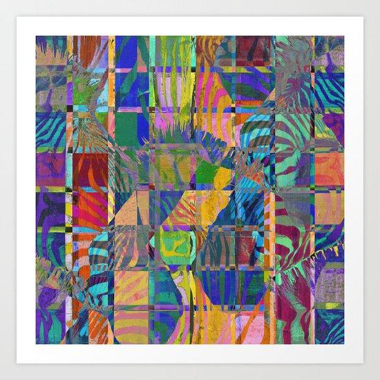 Colorful Zebras Art Print
