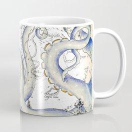 Tentacles Grunge Vintage Map Faded Coffee Mug