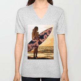 Authentic Aboriginal Art - Surfs up Australia Unisex V-Neck