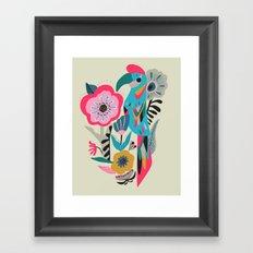 PARROT AT THE GARDEN Framed Art Print