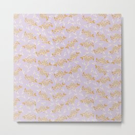 Gold & pearl watercolor flowers on lilac seamless pattern_2 Metal Print