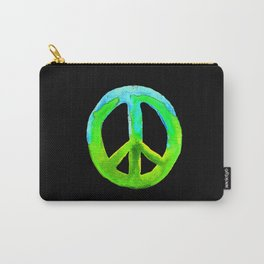 Turquoise Lime Watercolor Tie Dye Peace Sign Carry-All Pouch