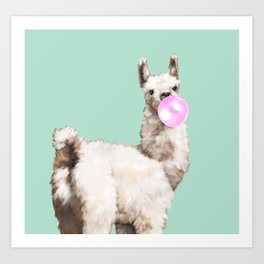 Baby Llama Blowing Bubble Gum Art Print
