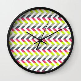 Neon Strawberry - Chevron Geometric Pattern Wall Clock