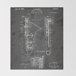 Selmer Saxophone Patent - Saxophone Art - Black Chalkboard Throw Blanket