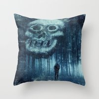 depression Throw Pillows featuring depression by Dirk Wuestenhagen Imagery