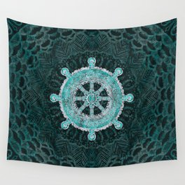 Dharma Wheel - Dharmachakra Silver and turquoise Wall Tapestry