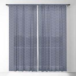 Japanese Blue Wave Seigaiha Indigo Super Moon Pattern Sheer Curtain