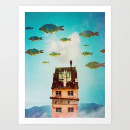 Rooftop     surreal, surrealism, digitalart, digitalcollage, collage, graphicdesign, photoshop, phot Art Print