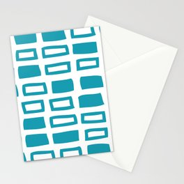 Mid Century Modern Abstract Squares Pattern 442 Turquoise Stationery Cards