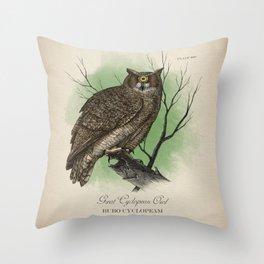 Great Cyclopean Owl Throw Pillow