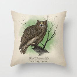 Great Cyclopean Owl Throw Pillow