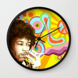 Jimi Hendrix (Peace & Love) Wall Clock