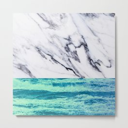 Marble Ocean iPhone Case and Throw Pillow Design Metal Print