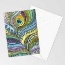 Intricate Peacock Feather Stationery Cards