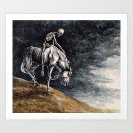 Skeleton Riding a Pale Horse Art Print
