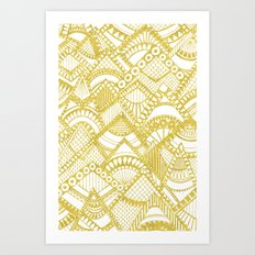 Golden Doodle mountains Art Print