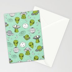 Alien outer space cute aliens french fries rad sodas pattern print mint Stationery Cards